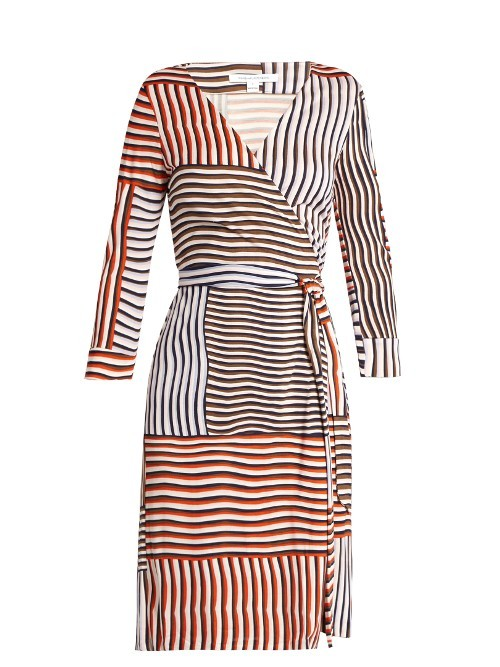 New Julian Dress - style: faux wrap/wrap; neckline: v-neck; pattern: striped; waist detail: belted waist/tie at waist/drawstring; secondary colour: white; predominant colour: bright orange; occasions: evening; length: just above the knee; fit: body skimming; fibres: silk - 100%; sleeve length: long sleeve; sleeve style: standard; pattern type: fabric; texture group: jersey - stretchy/drapey; multicoloured: multicoloured; season: s/s 2016
