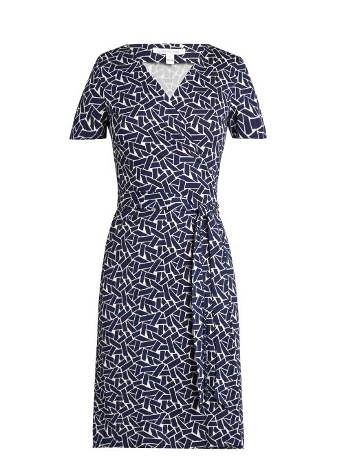 New Julian Dress - style: faux wrap/wrap; neckline: v-neck; waist detail: belted waist/tie at waist/drawstring; secondary colour: white; predominant colour: navy; occasions: evening; length: just above the knee; fit: body skimming; fibres: silk - 100%; sleeve length: short sleeve; sleeve style: standard; pattern type: fabric; pattern: patterned/print; texture group: jersey - stretchy/drapey; multicoloured: multicoloured; season: s/s 2016