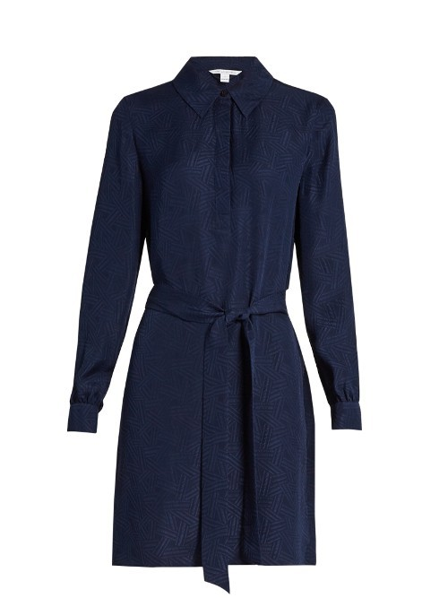 Seanna Dress - style: shirt; neckline: shirt collar/peter pan/zip with opening; pattern: plain; waist detail: belted waist/tie at waist/drawstring; predominant colour: navy; occasions: work, creative work; length: just above the knee; fit: body skimming; fibres: silk - 100%; sleeve length: long sleeve; sleeve style: standard; pattern type: fabric; texture group: other - light to midweight; season: s/s 2016; wardrobe: investment