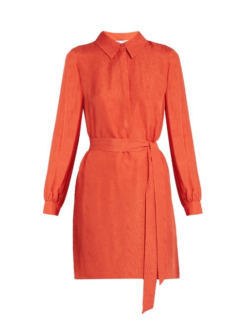 Seanna Shirtdress - style: shirt; length: mid thigh; neckline: shirt collar/peter pan/zip with opening; pattern: plain; waist detail: belted waist/tie at waist/drawstring; predominant colour: bright orange; occasions: evening; fit: body skimming; fibres: silk - 100%; sleeve length: long sleeve; sleeve style: standard; pattern type: fabric; texture group: other - light to midweight; season: s/s 2016