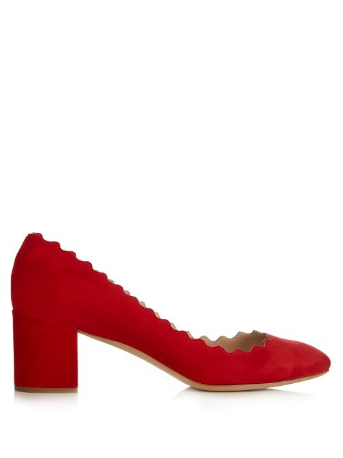 Lauren Scallop Edged Block Heel Suede Pumps - predominant colour: true red; material: suede; heel height: mid; heel: block; toe: round toe; style: courts; finish: plain; pattern: plain; occasions: creative work; season: s/s 2016; wardrobe: highlight