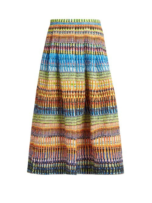 Naomi Raffia Print Midi Skirt - length: calf length; style: full/prom skirt; fit: loose/voluminous; waist: mid/regular rise; secondary colour: diva blue; predominant colour: primrose yellow; occasions: casual; fibres: polyester/polyamide - mix; pattern type: fabric; pattern: patterned/print; texture group: other - light to midweight; pattern size: standard (bottom); multicoloured: multicoloured; season: s/s 2016; wardrobe: highlight
