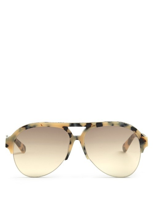 Half Frame Acetate Sunglasses - predominant colour: gold; occasions: casual, holiday; style: aviator; size: standard; material: plastic/rubber; pattern: tortoiseshell; finish: plain; season: s/s 2016