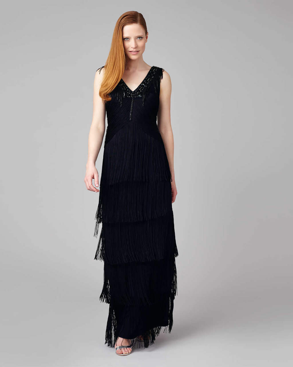 Sable Fringe Dress - neckline: v-neck; pattern: plain; sleeve style: sleeveless; style: maxi dress; predominant colour: navy; occasions: evening; length: floor length; fit: body skimming; fibres: polyester/polyamide - stretch; sleeve length: sleeveless; hip detail: ruffles/tiers/tie detail at hip; pattern type: fabric; texture group: other - light to midweight; embellishment: fringing; season: s/s 2016; wardrobe: event