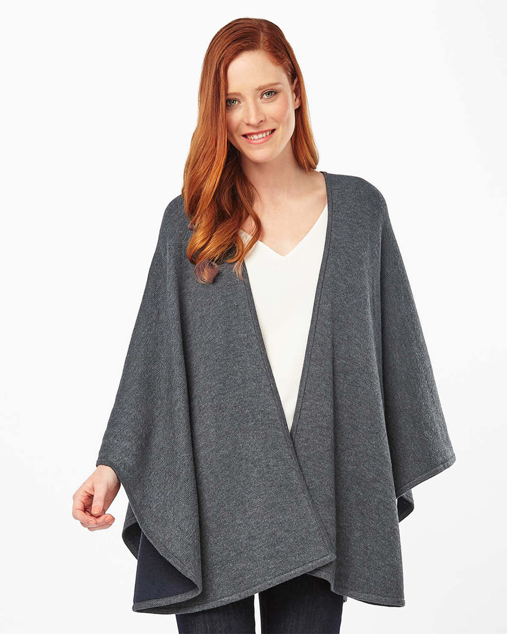 Fearne Cape - pattern: plain; neckline: waterfall neck; length: below the bottom; predominant colour: charcoal; occasions: casual, creative work; style: cape style; fibres: cotton - mix; fit: loose; sleeve length: long sleeve; texture group: knits/crochet; pattern type: knitted - fine stitch; sleeve style: cape/poncho sleeve; season: s/s 2016; wardrobe: highlight