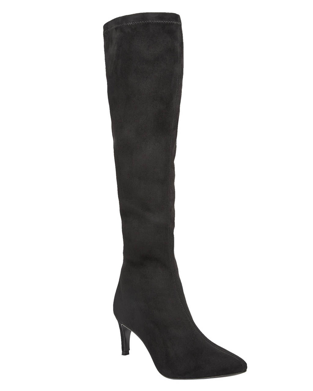 Hannah Stretch Boot - predominant colour: black; material: suede; heel height: high; heel: stiletto; toe: pointed toe; boot length: over the knee; style: standard; finish: plain; pattern: plain; occasions: creative work; season: s/s 2016; wardrobe: investment