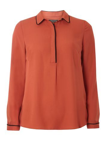 Womens Rust Tipped Collar Shirt Red - neckline: shirt collar/peter pan/zip with opening; pattern: plain; style: shirt; predominant colour: terracotta; occasions: casual, creative work; length: standard; fibres: polyester/polyamide - 100%; fit: body skimming; sleeve length: long sleeve; sleeve style: standard; pattern type: fabric; texture group: other - light to midweight; season: s/s 2016; wardrobe: highlight