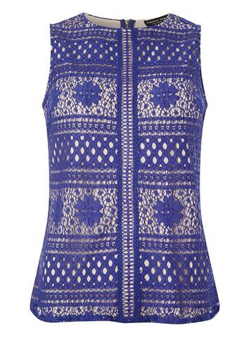 Womens Cobalt Lace High Neck Top Blue - sleeve style: sleeveless; predominant colour: royal blue; occasions: evening; length: standard; style: top; fit: body skimming; neckline: crew; sleeve length: sleeveless; texture group: lace; pattern type: fabric; pattern: patterned/print; fibres: viscose/rayon - mix; embellishment: lace; pattern size: big & busy (top); season: s/s 2016; wardrobe: event
