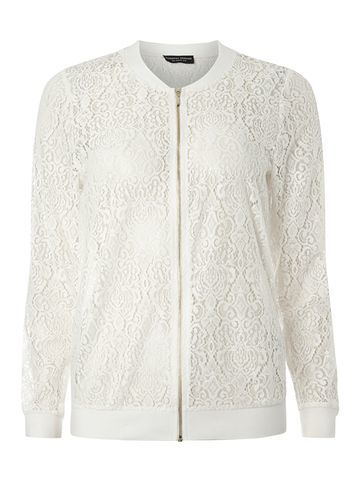 Womens Ivory Lace Bomber White - collar: round collar/collarless; style: bomber; predominant colour: ivory/cream; occasions: casual, creative work; length: standard; fit: straight cut (boxy); fibres: polyester/polyamide - 100%; sleeve length: long sleeve; sleeve style: standard; texture group: lace; collar break: high; pattern type: fabric; pattern: patterned/print; season: s/s 2016; wardrobe: highlight