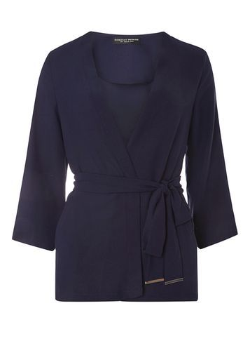 Womens Navy Tie Cover Up Navy - neckline: v-neck; pattern: plain; style: wrap; predominant colour: navy; occasions: casual, work, creative work; length: standard; fibres: polyester/polyamide - 100%; fit: standard fit; waist detail: belted waist/tie at waist/drawstring; sleeve length: long sleeve; sleeve style: standard; texture group: knits/crochet; pattern type: knitted - fine stitch; season: s/s 2016; wardrobe: basic