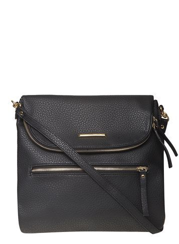 Womens Black Foldover Crossbody Bag Black - predominant colour: black; occasions: casual, creative work; type of pattern: standard; style: shoulder; length: across body/long; size: standard; material: faux leather; pattern: plain; finish: plain; season: s/s 2016; wardrobe: investment