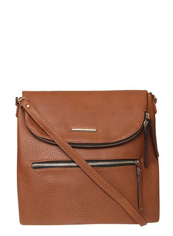 Womens Tan Foldover Crossbody Bag Brown - predominant colour: tan; occasions: casual, creative work; type of pattern: standard; style: shoulder; length: across body/long; size: standard; material: fur; pattern: plain; finish: plain; season: s/s 2016