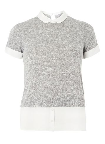 Womens Petite Grey 2 In 1 Top Grey - pattern: plain; secondary colour: white; predominant colour: light grey; occasions: casual, work, creative work; length: standard; style: top; fibres: polyester/polyamide - mix; fit: body skimming; neckline: no opening/shirt collar/peter pan; sleeve length: short sleeve; sleeve style: standard; pattern type: fabric; texture group: jersey - stretchy/drapey; season: s/s 2016