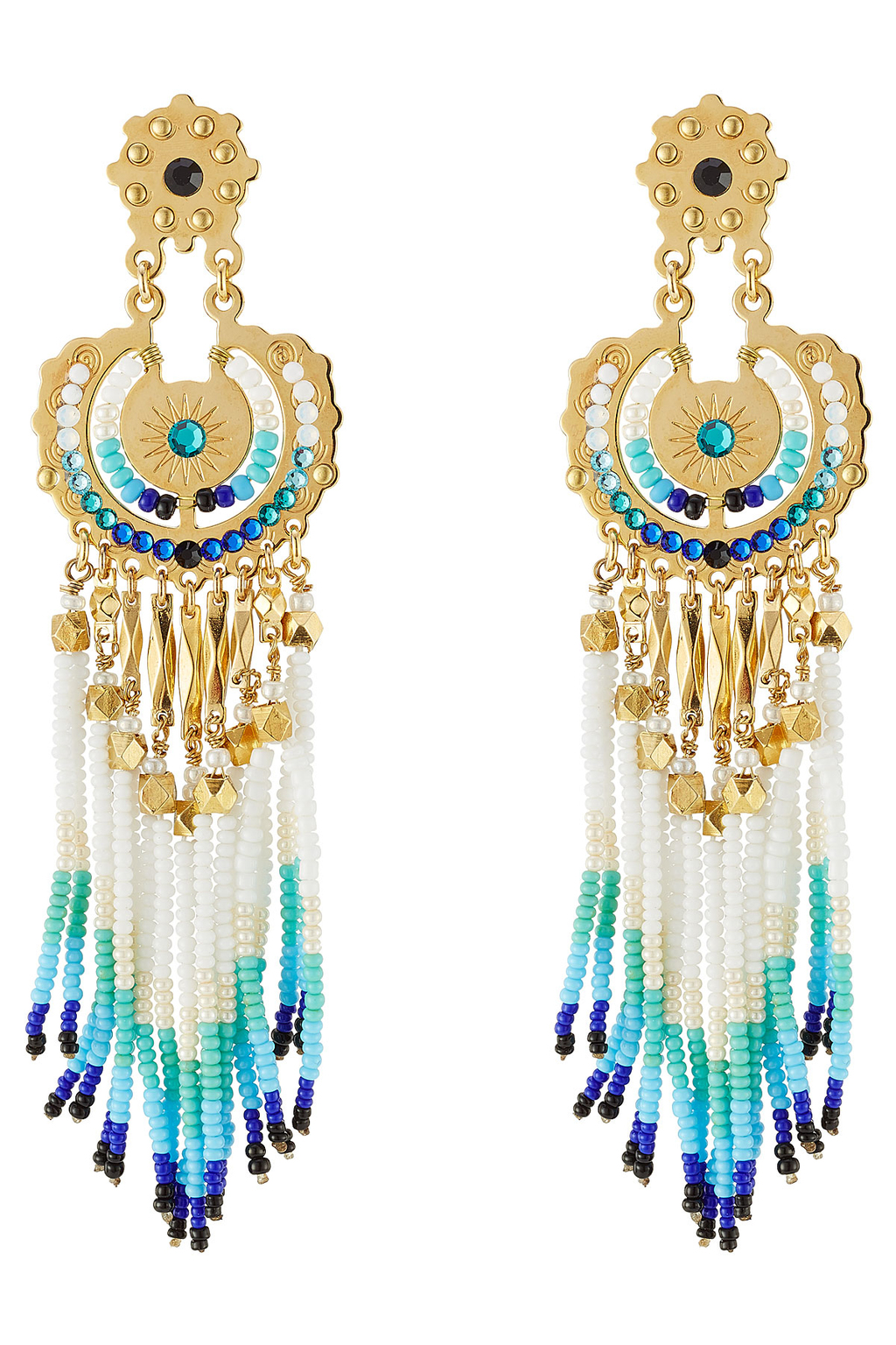 Apache Small 24kt Gold Plated Chandelier Earrings - secondary colour: turquoise; predominant colour: gold; occasions: evening, occasion, holiday; style: chandelier; length: long; size: large/oversized; material: chain/metal; fastening: pierced; finish: metallic; embellishment: jewels/stone; season: s/s 2016; wardrobe: highlight