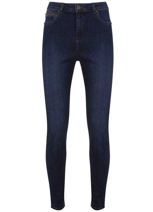 Lincoln Indigo Zip Skinny Jean - style: skinny leg; length: standard; pattern: plain; pocket detail: traditional 5 pocket; waist: mid/regular rise; predominant colour: navy; occasions: casual; fibres: cotton - stretch; texture group: denim; pattern type: fabric; season: s/s 2016; wardrobe: basic