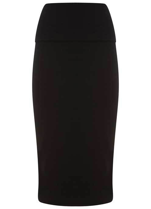 Black Fold Over Midi Skirt - length: below the knee; pattern: plain; style: pencil; fit: tailored/fitted; waist: high rise; predominant colour: black; occasions: work; fibres: viscose/rayon - stretch; waist detail: feature waist detail; pattern type: fabric; texture group: jersey - stretchy/drapey; season: s/s 2016; wardrobe: basic