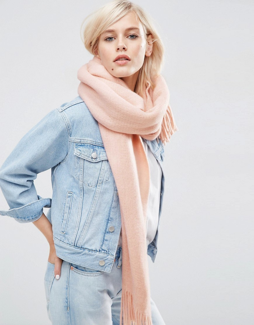 Long Tassel Scarf In Supersoft Knit Pink - predominant colour: nude; occasions: casual, creative work; type of pattern: standard; style: pashmina; size: large; material: knits; embellishment: fringing; pattern: plain; season: s/s 2016; wardrobe: basic