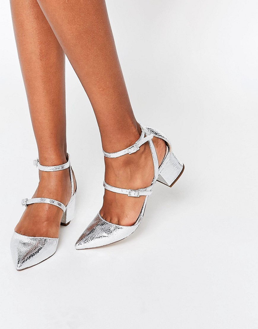 Switch It Up Heels Silver - predominant colour: silver; occasions: evening, creative work; material: faux leather; heel height: mid; ankle detail: ankle strap; heel: block; toe: pointed toe; style: courts; finish: metallic; pattern: plain; season: s/s 2016; wardrobe: highlight