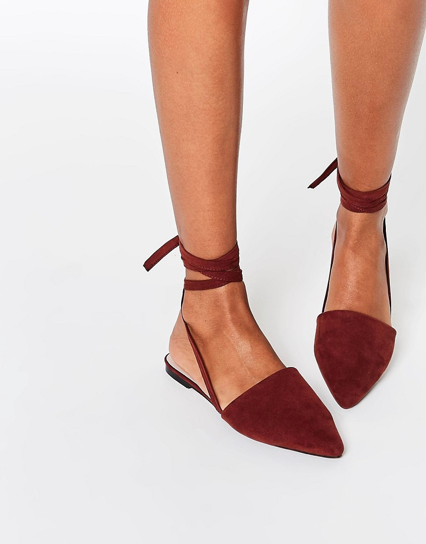 Life Of The Party Lace Up Pointed Ballet Flats Chocolate - predominant colour: burgundy; occasions: casual, creative work; heel height: flat; ankle detail: ankle tie; toe: pointed toe; style: ballerinas / pumps; finish: plain; pattern: plain; material: faux suede; season: s/s 2016; wardrobe: highlight
