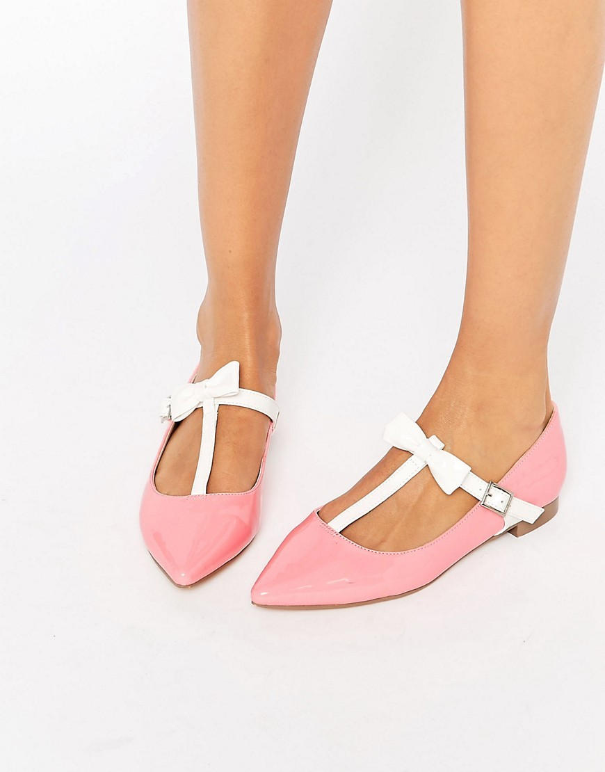 Logan Pointed Ballet Flats Pink - secondary colour: white; predominant colour: pink; occasions: casual, creative work; material: faux leather; heel height: flat; toe: pointed toe; style: ballerinas / pumps; finish: plain; pattern: plain; season: s/s 2016