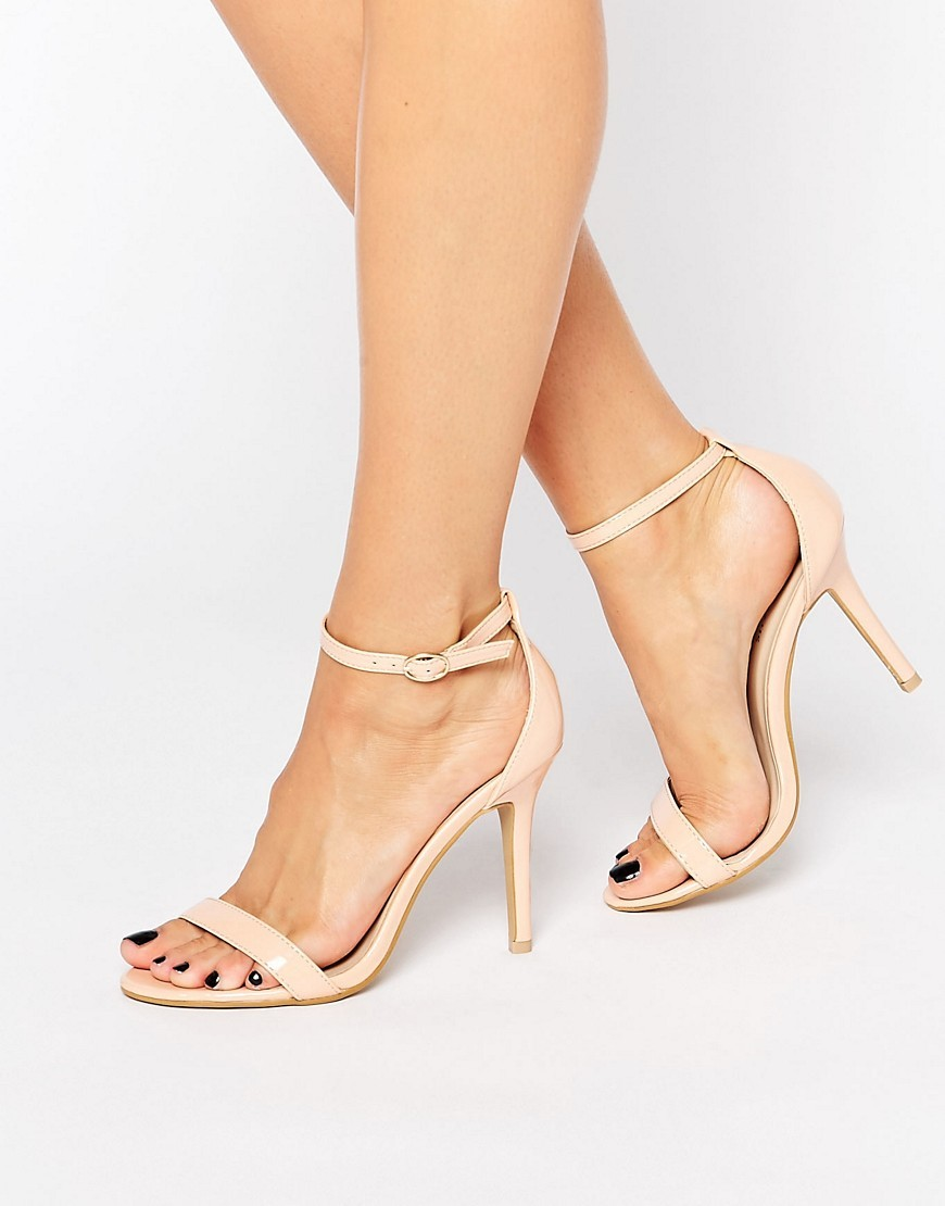 Pink Two Part Heeled Sandals Nude - predominant colour: nude; occasions: evening, occasion; material: faux leather; heel height: high; ankle detail: ankle strap; heel: stiletto; toe: open toe/peeptoe; style: standard; finish: patent; pattern: plain; season: s/s 2016; wardrobe: event