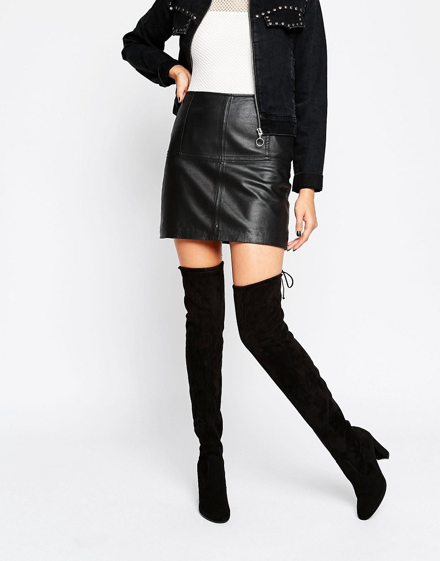 Tie Back Black Heeled Over The Knee Boots Black Mf - predominant colour: black; occasions: casual, creative work; material: suede; heel height: high; heel: block; toe: round toe; boot length: over the knee; style: standard; finish: plain; pattern: plain; season: s/s 2016; wardrobe: investment