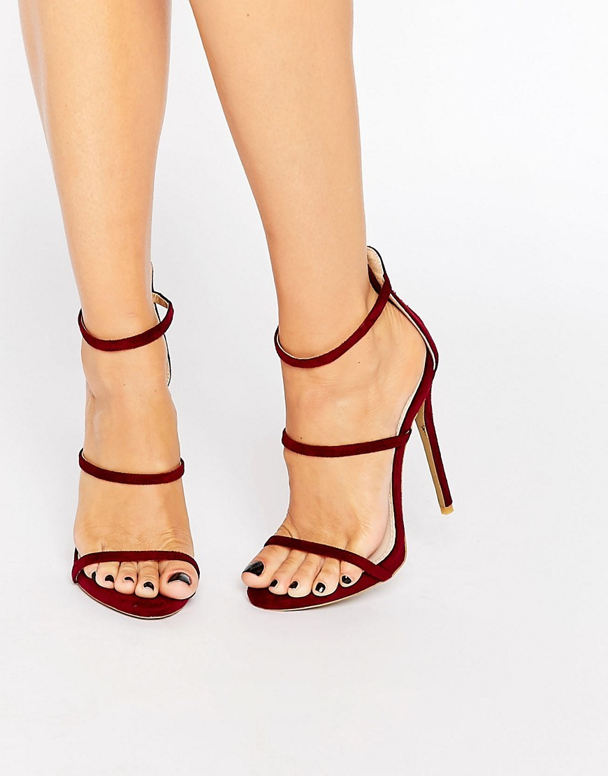 Aisha Strappy Burgundy Heeled Sandals Bordo Suede - predominant colour: burgundy; occasions: evening; material: faux leather; heel height: high; ankle detail: ankle strap; heel: stiletto; toe: open toe/peeptoe; style: strappy; finish: plain; pattern: plain; season: s/s 2016; wardrobe: event