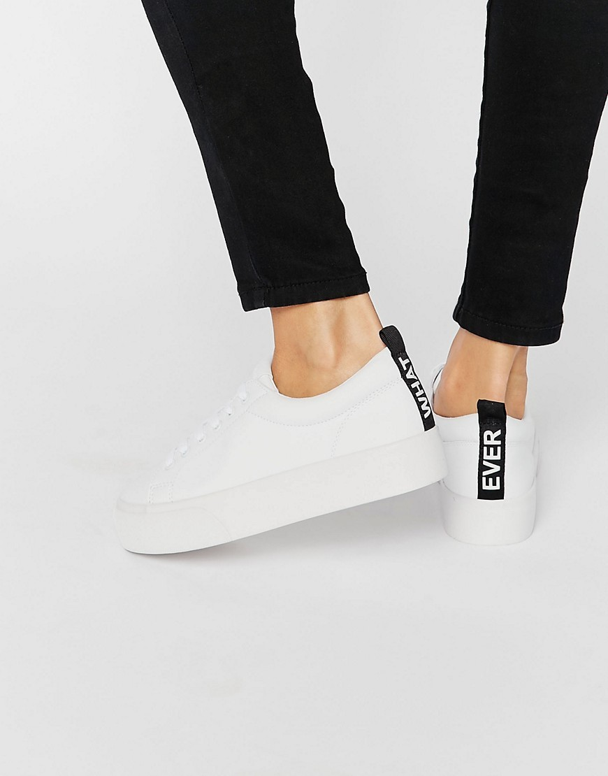 Message Trainer White - predominant colour: white; secondary colour: black; occasions: casual, creative work; material: faux leather; heel height: flat; toe: round toe; style: trainers; finish: plain; pattern: colourblock; season: s/s 2016