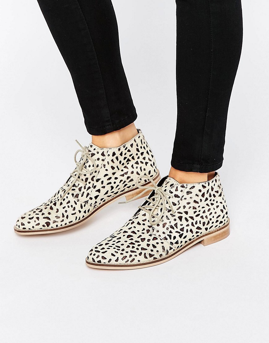 Marls Leather Flat Shoes Leopard - predominant colour: ivory/cream; secondary colour: chocolate brown; occasions: casual, creative work; material: leather; heel height: flat; heel: standard; toe: round toe; boot length: ankle boot; finish: plain; pattern: animal print; style: lace ups; season: s/s 2016; wardrobe: highlight