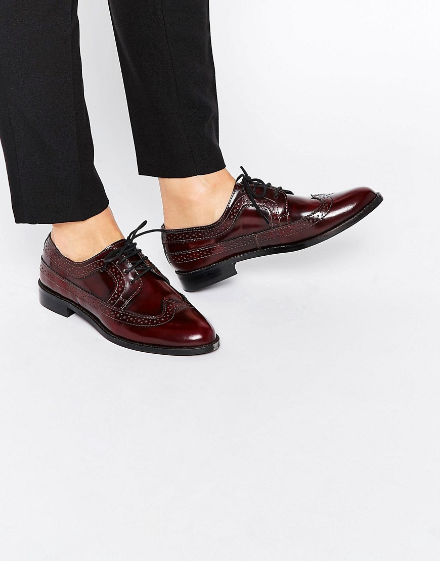 Mai Leather Brogues Oxblood - predominant colour: chocolate brown; occasions: work, creative work; material: leather; heel height: flat; toe: round toe; style: brogues; finish: patent; pattern: plain; season: s/s 2016; wardrobe: basic