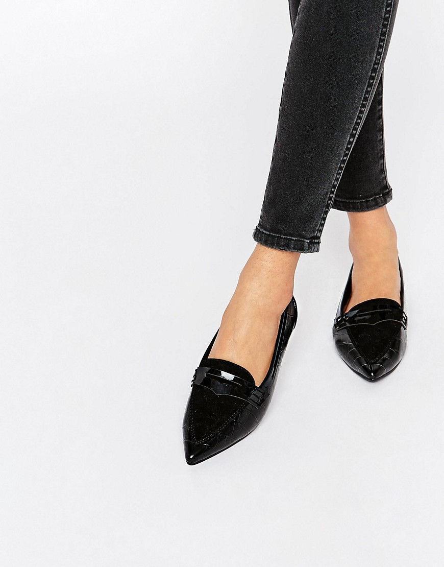 Laker Pointed Ballet Flats Black - predominant colour: black; occasions: casual, work, creative work; material: faux leather; heel height: flat; toe: pointed toe; style: ballerinas / pumps; finish: patent; pattern: plain; season: s/s 2016; wardrobe: basic