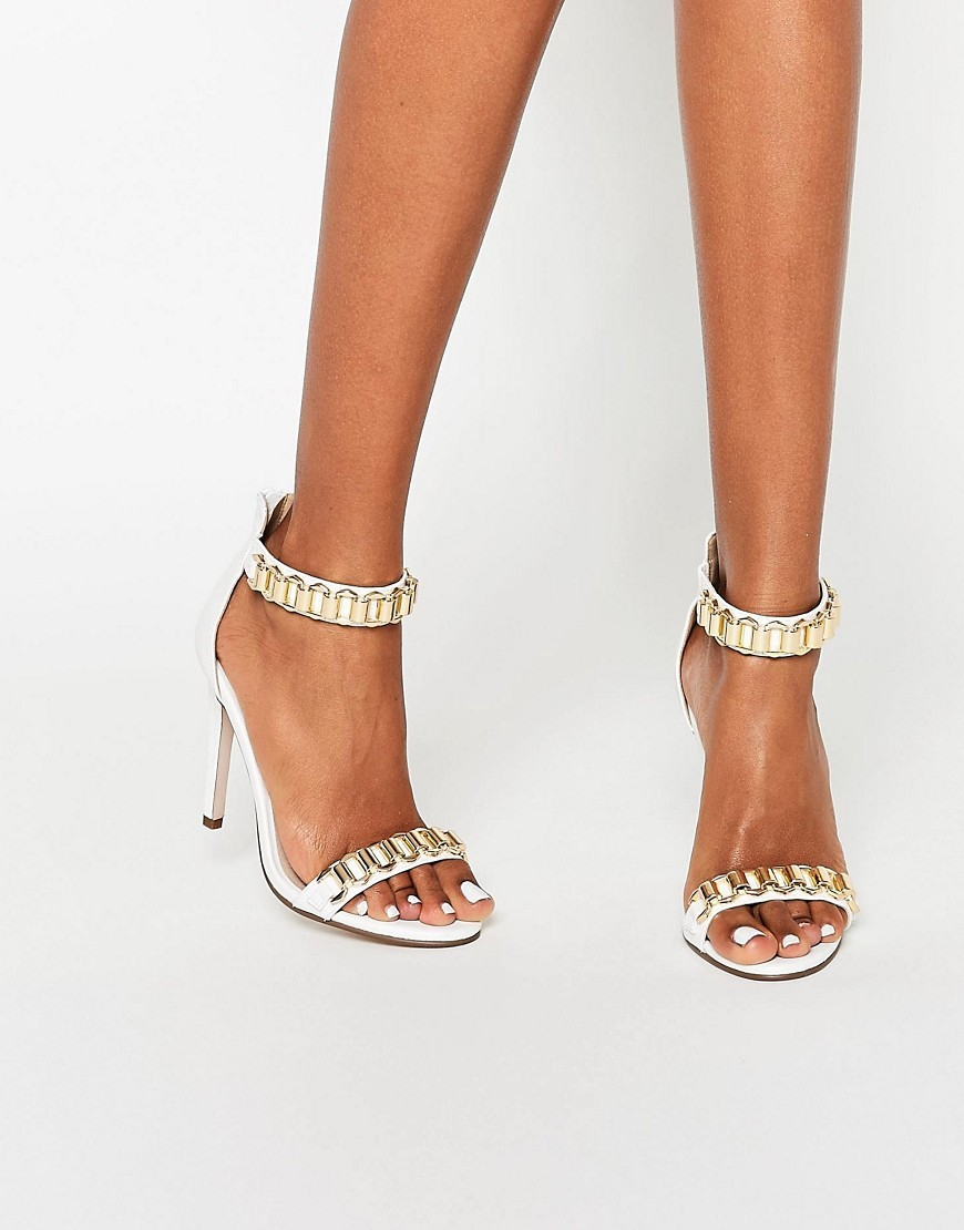 Hoop Heeled Sandals White - predominant colour: white; secondary colour: gold; occasions: evening; material: faux leather; heel height: high; ankle detail: ankle strap; heel: stiletto; toe: open toe/peeptoe; style: standard; finish: metallic; pattern: plain; multicoloured: multicoloured; season: s/s 2016; wardrobe: event