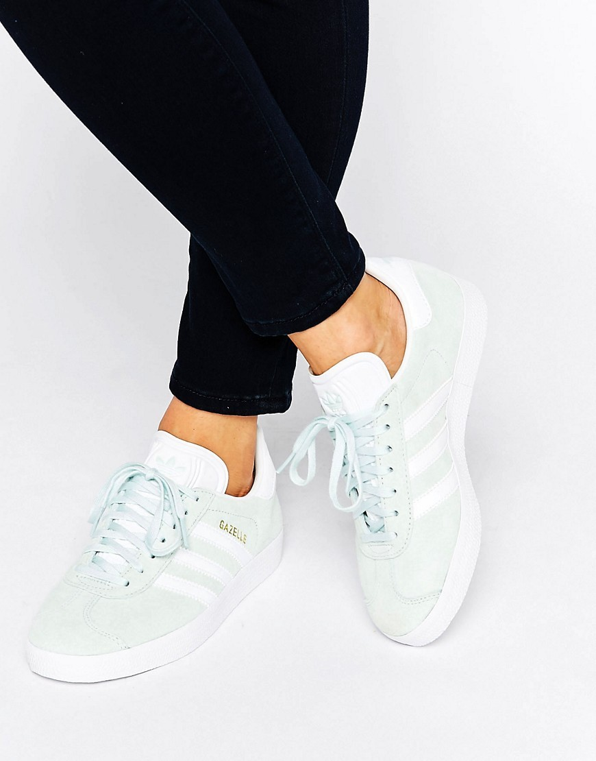 Originals Unisex Mint Suede Gazelle Trainers Mint - predominant colour: pistachio; occasions: casual; material: suede; heel height: flat; toe: round toe; style: trainers; finish: plain; pattern: plain; season: s/s 2016; wardrobe: highlight