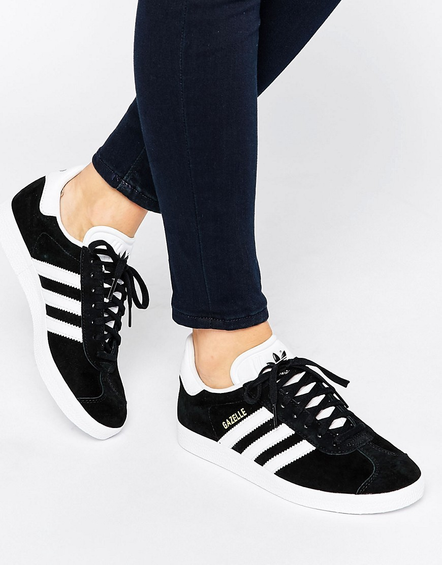 Originals Unisex Black Suede Gazelle Trainers Black - secondary colour: white; predominant colour: black; occasions: casual; material: suede; heel height: flat; toe: round toe; style: trainers; finish: plain; pattern: plain; season: s/s 2016; wardrobe: basic