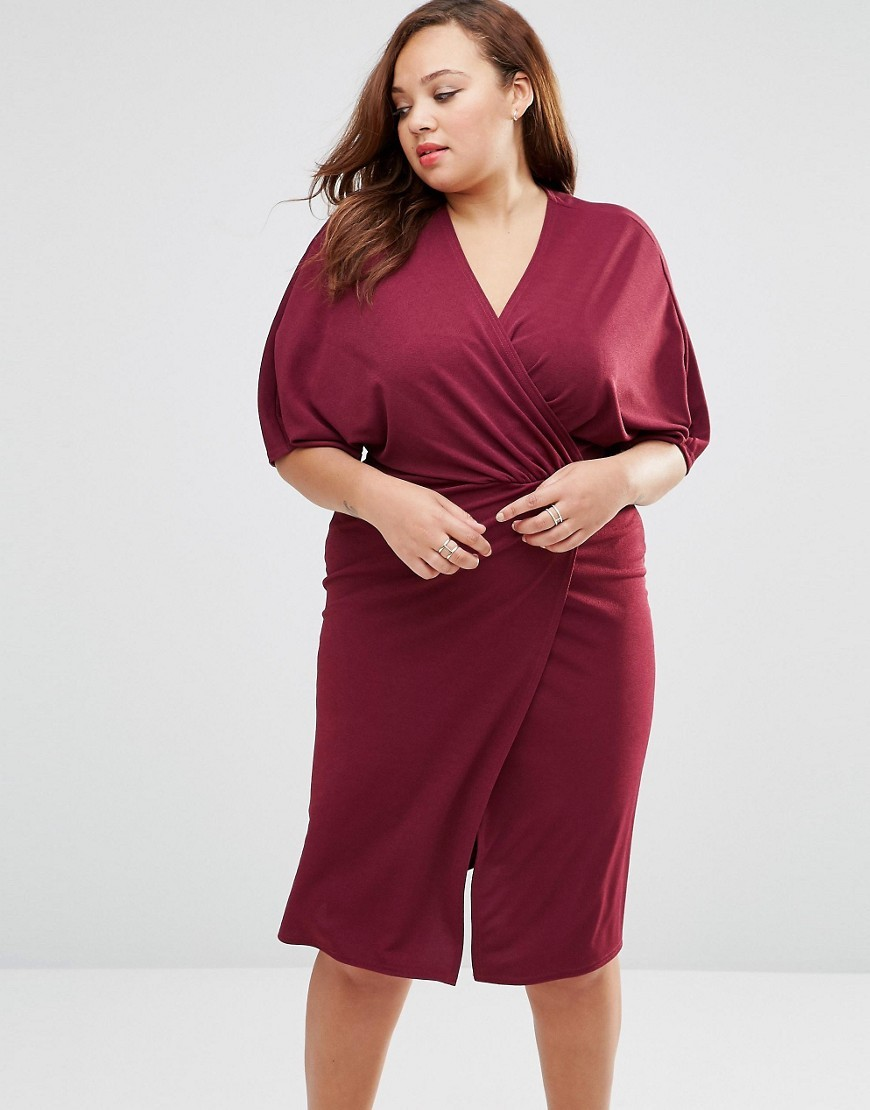 Plus Wrap Front Dress With Kimono Sleeves Deep Purple - style: faux wrap/wrap; neckline: v-neck; pattern: plain; sleeve style: kimono; waist detail: twist front waist detail/nipped in at waist on one side/soft pleats/draping/ruching/gathering waist detail; predominant colour: burgundy; occasions: work, occasion, creative work; length: on the knee; fit: body skimming; fibres: polyester/polyamide - stretch; sleeve length: half sleeve; pattern type: fabric; texture group: jersey - stretchy/drapey; season: s/s 2016; wardrobe: highlight