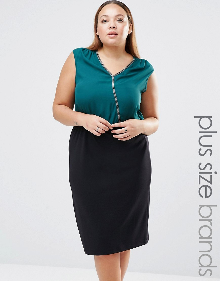 Plus Lillie Midi Dress Botanical Garden - style: shift; neckline: low v-neck; fit: tailored/fitted; sleeve style: sleeveless; secondary colour: teal; predominant colour: black; occasions: work; length: on the knee; fibres: polyester/polyamide - 100%; sleeve length: sleeveless; pattern type: fabric; pattern: colourblock; texture group: jersey - stretchy/drapey; season: s/s 2016