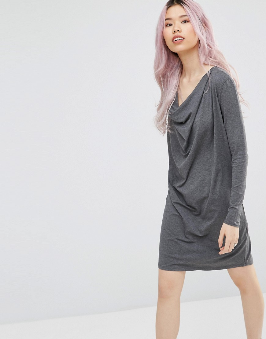 Cowl Neck Shift Dress Black/ Nature - style: shift; length: mid thigh; neckline: cowl/draped neck; pattern: plain; predominant colour: mid grey; occasions: casual, creative work; fit: body skimming; fibres: viscose/rayon - stretch; sleeve length: long sleeve; sleeve style: standard; pattern type: fabric; texture group: jersey - stretchy/drapey; season: s/s 2016; wardrobe: basic