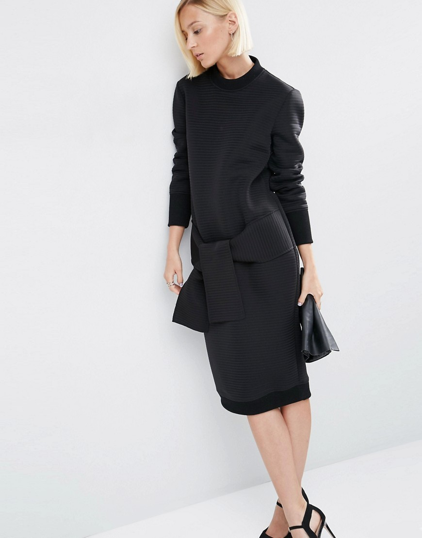 Tie Detail Midi Dress In Self Stripe Black - style: shift; fit: fitted at waist; pattern: plain; predominant colour: black; occasions: evening; length: on the knee; fibres: polyester/polyamide - stretch; neckline: crew; sleeve length: long sleeve; sleeve style: standard; pattern type: fabric; texture group: jersey - stretchy/drapey; season: s/s 2016; wardrobe: event