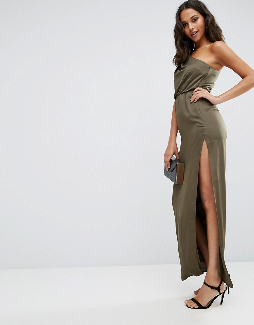 One Shoulder Drape Maxi Dress Khaki - neckline: strapless (straight/sweetheart); pattern: plain; style: maxi dress; sleeve style: asymmetric sleeve; length: ankle length; predominant colour: khaki; occasions: evening, occasion; fit: body skimming; fibres: polyester/polyamide - 100%; sleeve length: sleeveless; pattern type: fabric; texture group: jersey - stretchy/drapey; season: s/s 2016; wardrobe: event