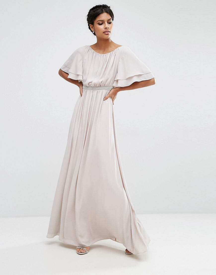 Flutter Sleeve Maxi Dress With Embellished Waist Trim Mink - neckline: round neck; pattern: plain; style: maxi dress; sleeve style: volant; predominant colour: light grey; length: floor length; fit: soft a-line; fibres: polyester/polyamide - 100%; occasions: occasion; sleeve length: half sleeve; pattern type: fabric; texture group: jersey - stretchy/drapey; season: s/s 2016; wardrobe: event