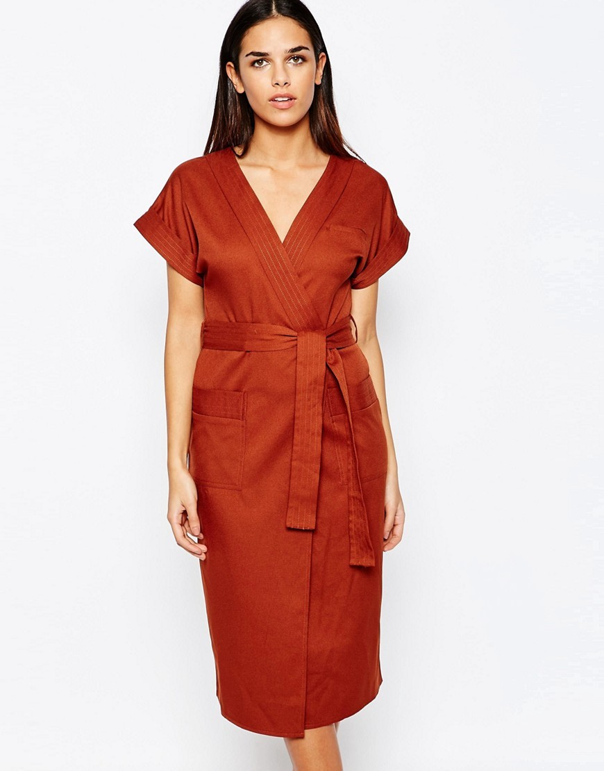 Crepe Wrap Over Detail Dress Rust - style: faux wrap/wrap; length: calf length; neckline: v-neck; pattern: plain; waist detail: belted waist/tie at waist/drawstring; predominant colour: terracotta; occasions: evening; fit: body skimming; fibres: polyester/polyamide - 100%; sleeve length: half sleeve; sleeve style: standard; texture group: crepes; pattern type: fabric; season: s/s 2016