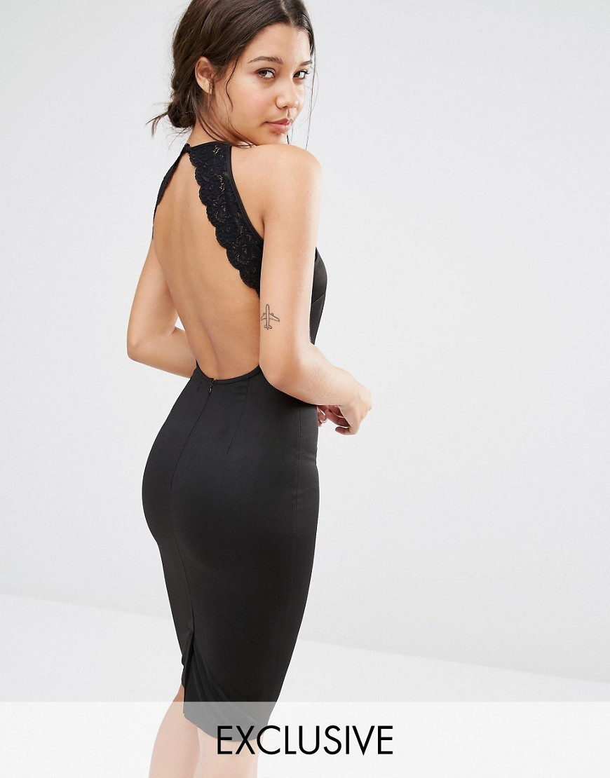 Lace Trim Open Back Bodycon Dress Black - fit: tight; pattern: plain; sleeve style: sleeveless; style: bodycon; back detail: low cut/open back; predominant colour: black; occasions: evening; length: on the knee; fibres: polyester/polyamide - stretch; neckline: crew; sleeve length: sleeveless; texture group: jersey - clingy; pattern type: fabric; season: s/s 2016; wardrobe: event