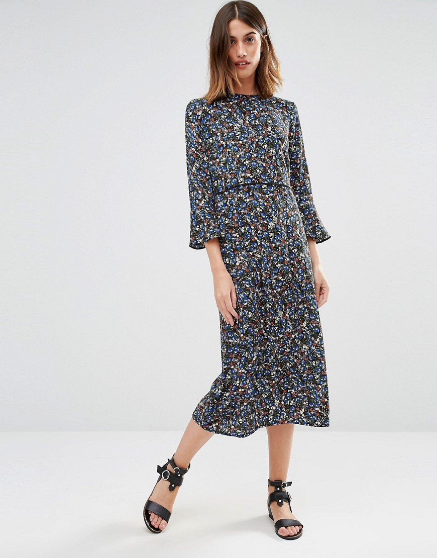 Ditsy Floral Midi Dress Multi - style: shift; length: calf length; fit: fitted at waist; secondary colour: navy; predominant colour: mid grey; occasions: casual, evening, creative work; fibres: viscose/rayon - 100%; neckline: crew; sleeve length: 3/4 length; sleeve style: standard; pattern type: fabric; pattern: patterned/print; texture group: jersey - stretchy/drapey; season: s/s 2016; wardrobe: highlight