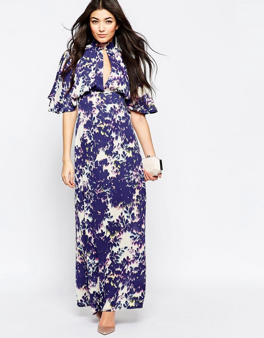 Maxi Dress With Kimono Sleeves In Blurred Floral Print Navy - style: maxi dress; neckline: high neck; length: ankle length; hip detail: draws attention to hips; secondary colour: white; predominant colour: navy; occasions: evening; fit: body skimming; fibres: polyester/polyamide - 100%; sleeve length: half sleeve; sleeve style: standard; texture group: crepes; pattern type: fabric; pattern size: big & busy; pattern: florals; multicoloured: multicoloured; season: s/s 2016; wardrobe: event
