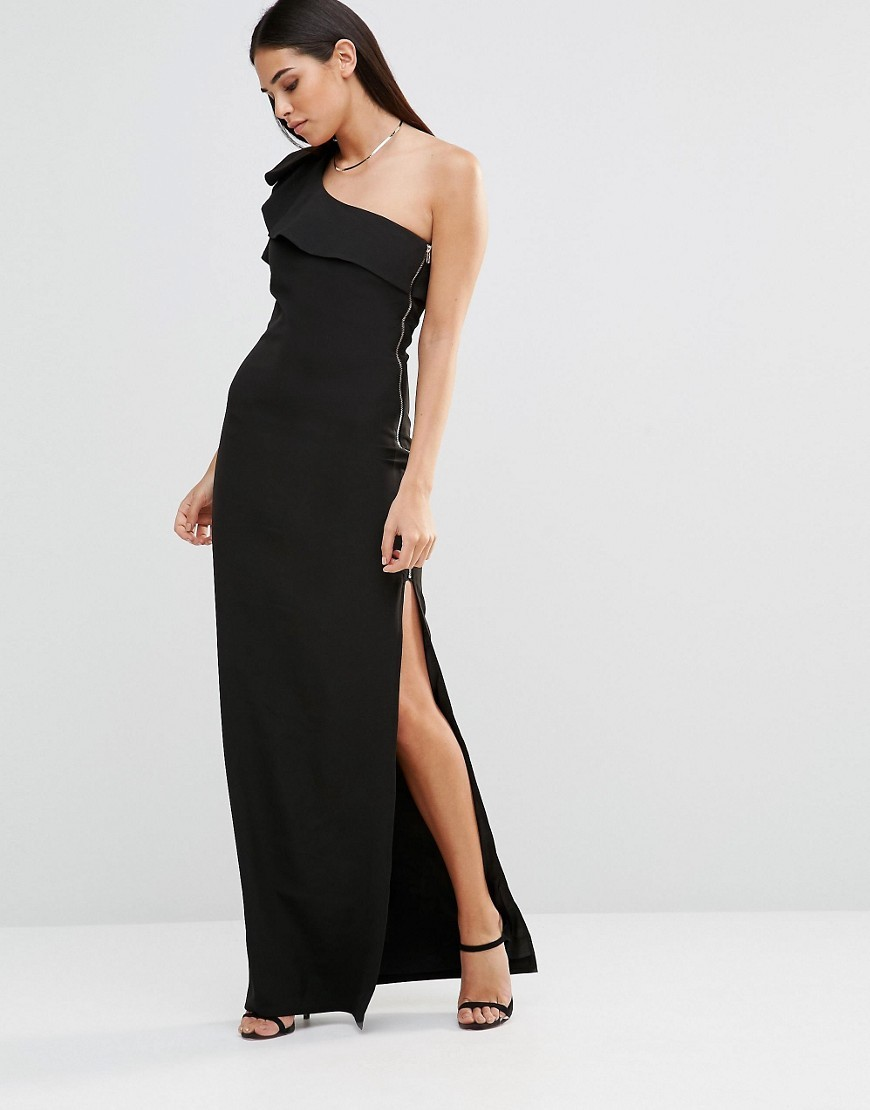 Aiko One Shoulder Maxi Dress With Side Zip Black - pattern: plain; sleeve style: sleeveless; style: maxi dress; length: ankle length; neckline: asymmetric; hip detail: draws attention to hips; predominant colour: black; occasions: evening; fit: body skimming; fibres: polyester/polyamide - 100%; sleeve length: sleeveless; bust detail: bulky details at bust; pattern type: fabric; texture group: other - light to midweight; season: s/s 2016; wardrobe: event