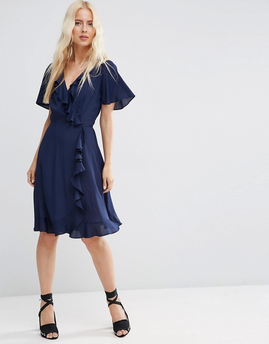 Midi Tea Dress With Ruffle Wrap Front Navy - style: shift; neckline: low v-neck; sleeve style: angel/waterfall; fit: fitted at waist; pattern: plain; predominant colour: navy; occasions: evening; length: on the knee; fibres: viscose/rayon - 100%; sleeve length: short sleeve; texture group: crepes; pattern type: fabric; season: s/s 2016; wardrobe: event
