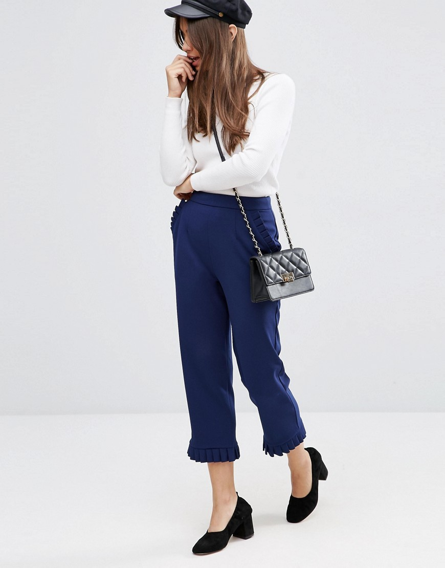 Ruffle Hem Peg Trousers Navy - pattern: plain; waist: mid/regular rise; predominant colour: navy; occasions: casual, creative work; length: ankle length; fibres: polyester/polyamide - stretch; fit: straight leg; pattern type: fabric; texture group: woven light midweight; style: standard; season: s/s 2016; wardrobe: basic