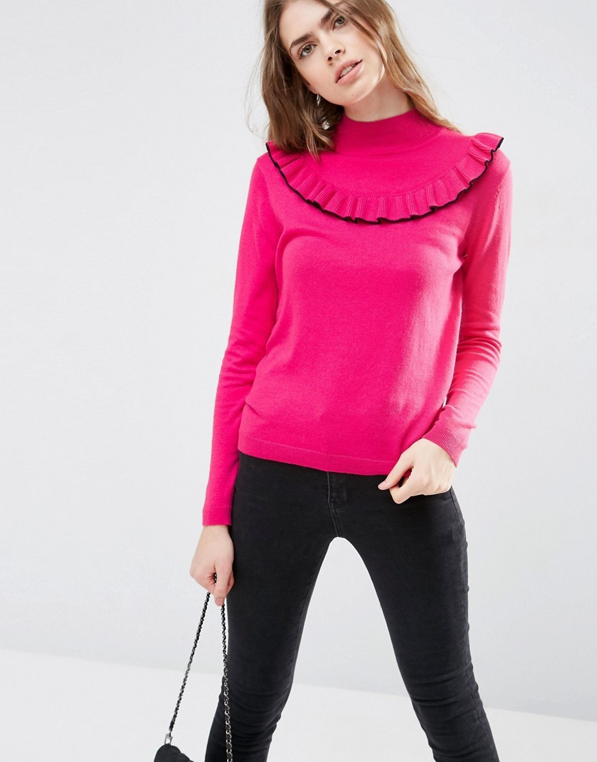 Jumper With Ruffle Front Pink - pattern: plain; neckline: high neck; style: standard; predominant colour: hot pink; secondary colour: black; occasions: casual, creative work; length: standard; fibres: nylon - mix; fit: standard fit; sleeve length: long sleeve; sleeve style: standard; texture group: knits/crochet; pattern type: knitted - fine stitch; season: s/s 2016; wardrobe: highlight