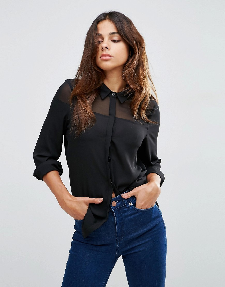 Sheer Yoke Detail Blouse Black - neckline: shirt collar/peter pan/zip with opening; pattern: plain; style: blouse; predominant colour: black; occasions: casual, evening, creative work; length: standard; fibres: polyester/polyamide - 100%; fit: body skimming; sleeve length: long sleeve; sleeve style: standard; texture group: sheer fabrics/chiffon/organza etc.; pattern type: fabric; season: s/s 2016; wardrobe: basic