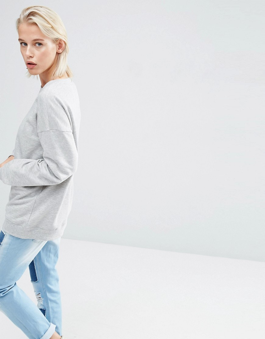 Ultimate Oversized Sweat Light Grey - pattern: plain; length: below the bottom; style: sweat top; predominant colour: light grey; occasions: casual, creative work; fibres: cotton - stretch; fit: loose; neckline: crew; sleeve length: long sleeve; sleeve style: standard; pattern type: fabric; texture group: jersey - stretchy/drapey; season: s/s 2016; wardrobe: basic